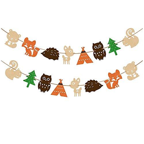 Guirnalda de banderines de animales del bosque de Gohigh, para fiestas de cumpleaños, baby shower, decoración del hogar o el jardín multicolor