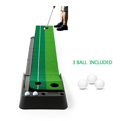 Esterilla Golf Putting, JBSON Alfombra de Entrenamiento de Golf Indoor Putting Green System Alfombra de Golf Profesional con 3 Pelotas de Entrenamiento (3m x 0.30m)
