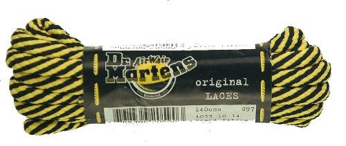 Dr Martens Schnürsenkel für Stiefel, 140cm x 5mm, runde, goldfarbene & schwarze, dünne Spiralen