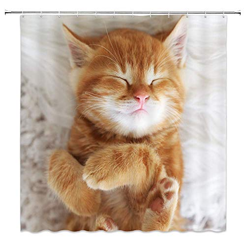 Cute Cat Shower Curtains Sleeping Kitty Orange Pet Animal White Bathroom Decor for Home 70 x 70 Inches Polyester Fabric Water Repellent Include Hooks