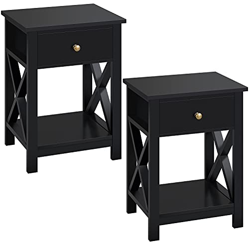 Costoffs Bedside Table Set of 2, X-Shaped Bedside Nightstand with Storage Drawer and Open Shelf Wooden Cabinet Side End Table for Bedroom/Living Room/Office, White, 40x30x55cm