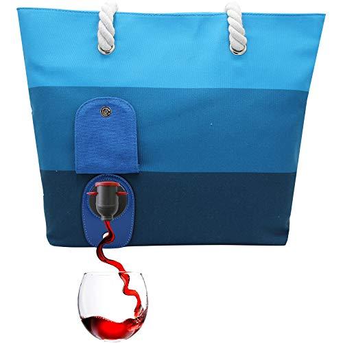 PortoVino Weintasche (Seabreeze) - Modisch mit verstecktem, isoliertem Fach für 2 Flaschen Wein aug dem Weg!