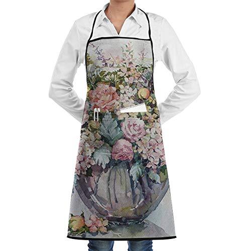 Kleurrijke Bloem Regeling In Glazen Fles 1 Stuk Verstelbare Schort Pocket Voor Mannen En Vrouwen In Koken, Barbecue En Bakken