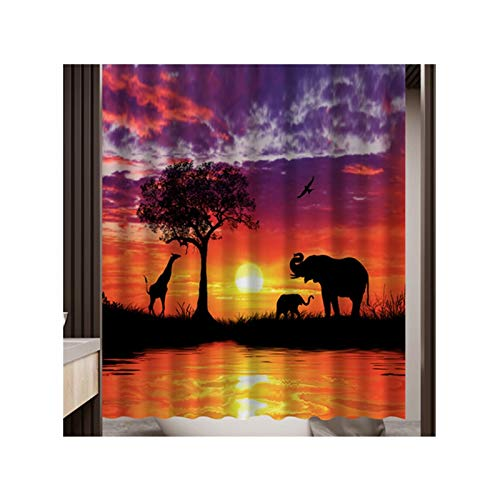 Bishilin Lustiger 3D Duschvorhang Antischimmel Elefant & Giraffe Duschvorhang Wasserdichter 180x200 cm