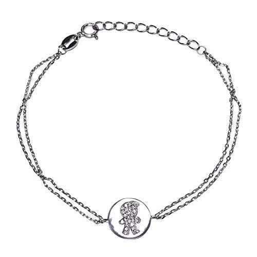 Loox Garnet Pulsera para mujer de plata 925/1000 blanca con circonita blanca, 18 cm, 2,2 gramos