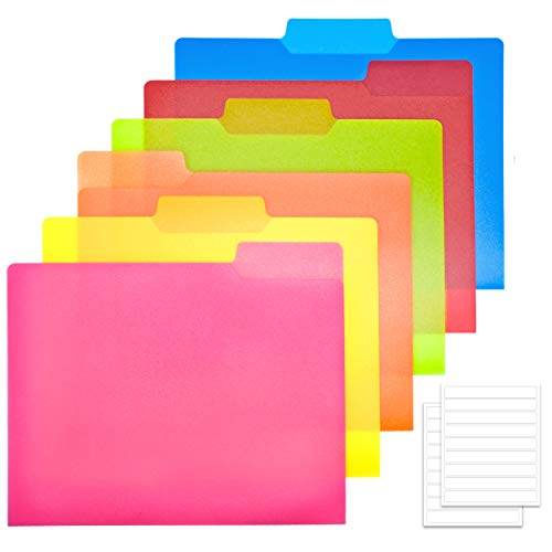 MAKHISTORY Plastic Color File Folders - 18pcs, Heavy Duty File Folders with Labels, 1 3 Cut Tab, Letter Size, 6 Assorted Colors, for School Home Work