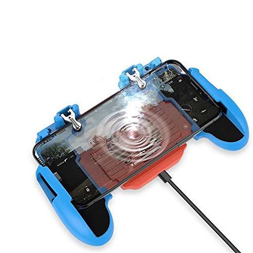 Szkn H5 Controle portátil para jogos de celular PUBG Joystick ventoinha gamepad para iOS Android azul vermelho com ventilador