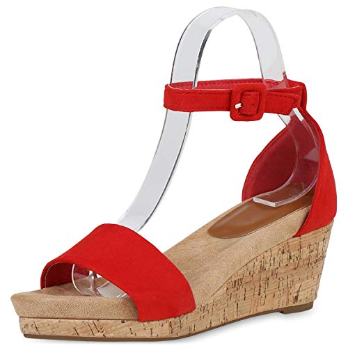 SCARPE VITA Damen Sandaletten Keilsandaletten Kork-Optik Plateau Vorne Schuhe Keilabsatz Riemchensandaletten Freizeitschuhe 193175 Rot 38