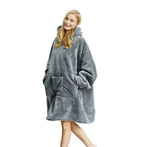 Blanket Hoodie Sweatshirt, Wearable Sherpa Fleece Oversized TV-Blanket (Dark Grey, Standard Size.28 Ounces)