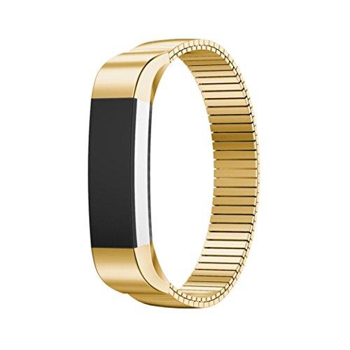 Ersatz Handgelenk Band, lanowo Luxus Echt Edelstahl Watch Band Wrist Strap für Fitbit Alta HR Smart Watch, gold