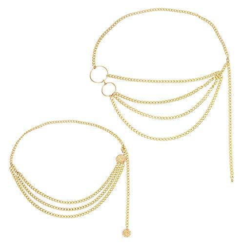 LYTIVAGEN 2 Stück Damen Taille Kette Gold Bauchkette Multilayer Taille Kette Gürtel Elegante Hüftkette für Bikini, Kleidung Dekoration, 2 Type
