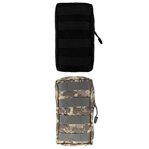 Lot 2pcs Modulaire Pochette Sac Utilitaire Accessoire Militaire -Noir et ACU Camouflage