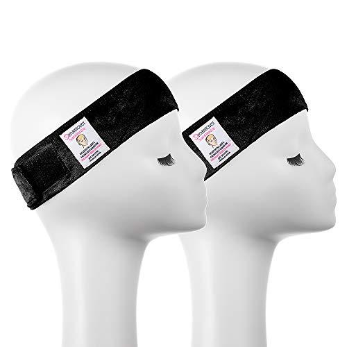 Dreamlover 2 Pack Elastic Wig Grip Headband, Adjustable Thin Velour Wig Scarf Hat Grip Band, Black