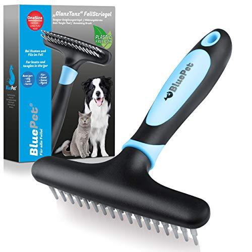 Bluepet® GlanzTanz Fell-Entwirrer Entfilzungskamm - Entfilzer Striegel für langhaar Hunde, Katzen & Pferde - Hundebürste/Katzenbürste entfernt Knoten, Unterfell & Verfilzungen + Massage
