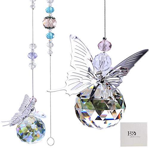 HampD HYALINE amp DORA 30mm Handmade Butterfly Crystal Ball Prism Rainbow Maker Hanging Suncatcher Home Decoration