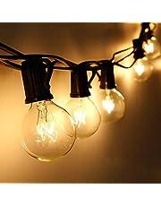 Qomolo Lichtketting voor buiten, G40, 29 lampen, tuinverlichting voor binnen en buiten, met reservelampen, 9,5 meter, warm wit, energieklasse A+