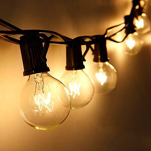 Cadena de Luces, Qomolo G40 Exterior Guirnalda Luces Con 25 Bombillas Y 4 Bombillas de Repuesto, 30ft Cable, Decoración Luz Interior y Exterior para Patio, Jardín, Fiesta, Bodas, Navidad