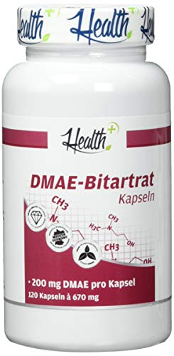 HEALTH+ DMAE-Bitartrat - 120 Kapseln, 200 mg Dimethylaminoethanol, Nootropikum - Vorstufe von Acetylcholin, Made in Germany