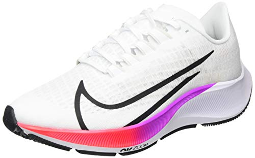 Nike Women's WMNS AIR Zoom Pegasus 37 Running Shoe, White/Flash Crimson-Hyper Violet-Spruce Aura-Vapor Green-Black, 6.5 UK