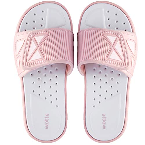 Damen Leichte Badeschlappen Verstellbare Sandalen mit Offenen Zehen Bequeme Sommer Badelatschen für Freizeit Sport Fitness Rosa 39