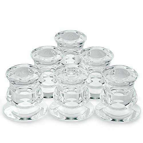 Ymenow Portavelas de cristal transparente, 6 soportes para velas de té (diámetro), 2,3 cm