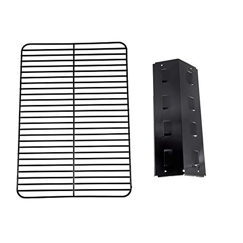 BBQration PSN630A 16 13/16' Porcelain Steel Heat Plate and PSF208A Cooking Grid Replacement for Charbroil 463612509, 463620410, 463620415, Aussie 6112S8X641, Thermos and More