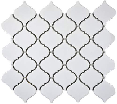 Retro Vintage Mosaik Fliese Keramik Florentiner weiß glänzend MOS13-1WG