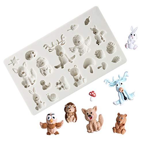 Weesey - Stampi in silicone per fondente per torte, 3D, motivo: animali della foresta, sapone, gelatina, gelatina, torte, cioccolato, utensili decorativi