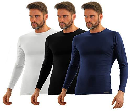 Sesto Senso® heren lange mouwen onderhemd verpakking van 3 katoenen T-shirt functioneel onderhemd met ronde hals functioneel shirt thermo-ondergoed winter