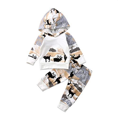 CIYCUIT Baby Boy Deer Outfit Clothes Toddler Infant Winter Hoodie Pants Set 6-12 Months