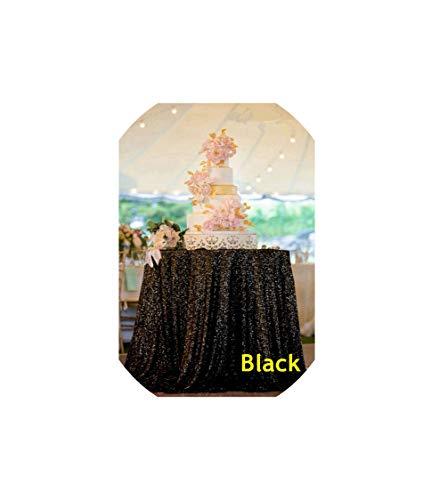 Archiba Tablecloths Runde Pailletten Tischdecke Rosa Goldsequin Tabelle Abdeckung für Weihnachtsfest-Hochzeit Dekor, Schwarz, 50X50In-125X125Cm