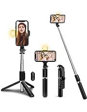 Bastone Selfie con luce(modalità a 3 colori),JPARR 4 in 1 Estensibile 105CM Selfie Stick Treppiede con Telecomando Wireless Compatibile con iPhone e smartphone Android