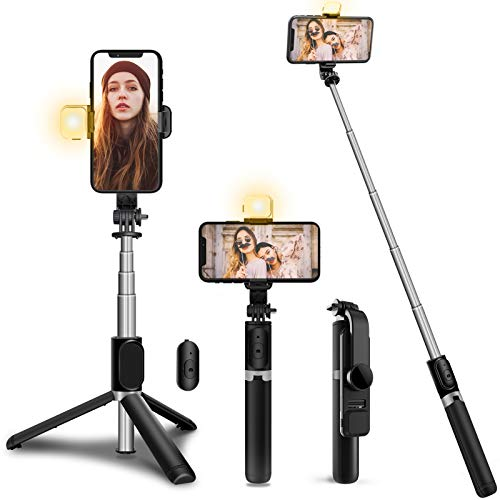 Palo Selfie Trípode con Luz (Modo de 3 Colores),JPARR 4 in 1 Extensible Bluetooth Selfie Stick con Inalámbrico Control Remoto Compatible con iPhone y Android para Selfies, Viajes, Maquillaje, Video