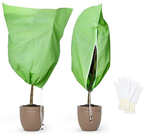 Adorfine Winterschutz Kübelpflanzensack Mit Baumwollhandschuhe Superstark Pflanzenschutz Winter für Kübelpflanzen, Frostschutz Pflanzen,Palmen Winterschutz (100 x 80 cm, Grün)