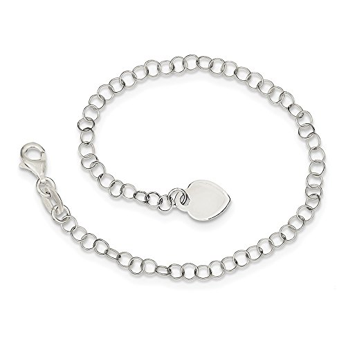 925 Sterling Silver Heart Charm Childs Bracelet 6 Inch Fine Jewelry For Women Gifts For Her