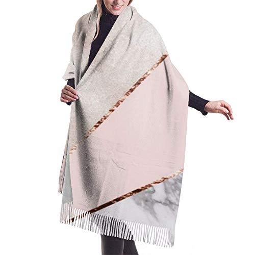Mármol de oro rosa mixto empalmado Moda femenina Chal largo Invierno cálido...