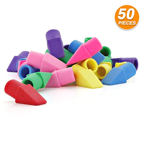 Emraw Neon Pencil Top Erasers Assorted Color Cap Erasers Pencils Eraser Toppers in Bulk Ideal for Kids, Boys, Girls School Supplies (50 Piece Per Pack)