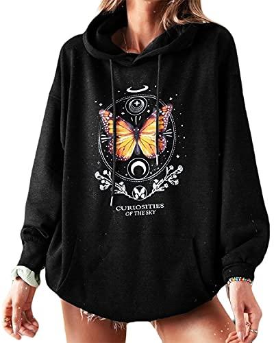 datasy Sudadera Mujer con Capucha Estampada patrón Mariposas Hoodie Adolescentes Chicas Deportivos Vestido Sudaderas con Bolsillos Mujer Oversize Suelta Negro-L