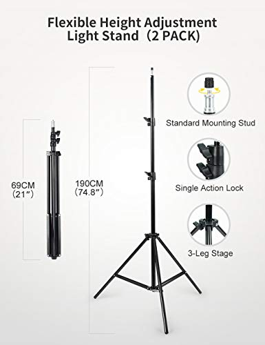 RALENO LED Video Lighting Kits With 75inch Light Stand, 1 Durable Handbag And 2-Pack 384 LED Soft Video Light, Built-in Lithium Battery 3200K-6500K Video Lighting Kits For YouTube Photography Shooting