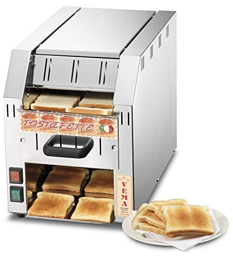 VEMA TF 2096 - Tostadora pequeña de Cinta Profesional íntegramente de Acero Inoxidable – 500 porciones por Hora – Ideal para Salones de Desayuno – Fabricado en Italia
