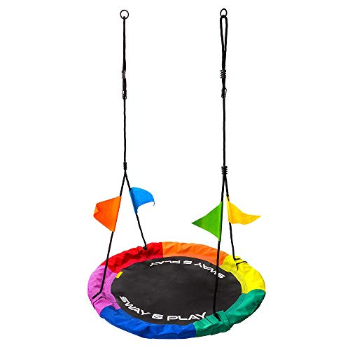 Columpio Infantil Ajustable - Nido para Niños y Adultos Columpio Redondo 100cm Diámetro Peso máximo hasta 100 kg - para Hogar Jardín Casa Exterior Aire Libre Giro (110 cm, Multicolor)