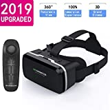HD Virtual Reality Headset w/Controller/Gamepad,VR Headsets for iPhone/Android,3D VR Glasses for TV, Movies & Video Games-VR Goggles Compatible with iOS, Android Phones