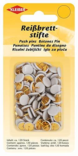 Kleiber - Chinchetas con Cabeza Forrada de plástico, 120 Piezas, Color Blanco