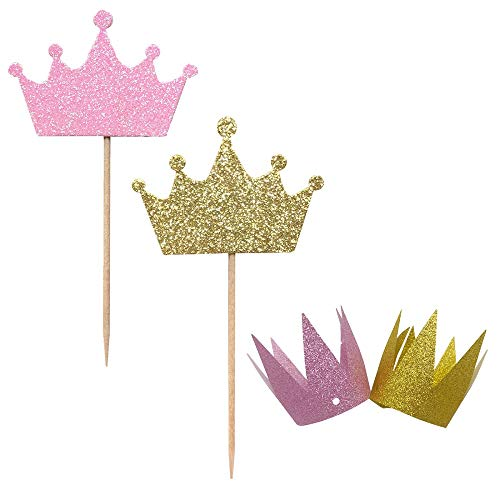 36-Pack Pind and Blue Crown Cupcake Toppers Picks, 2-Pack Crown Hats, Baby Shower Wedding Party Decorations Supplies(Pink)