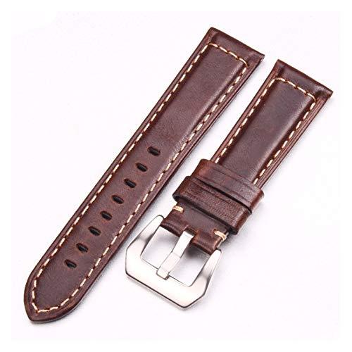 Uhrenarmband Handgemachtes Retro Echtes Leder Armbands Gurt 22mm 24mm Dunkelbraune Uhr Band Gürtel mit Silber Edelstahlschnallen für Pfanne Uhrenband ( Band Color : Dark Brown , Band Width : 24mm )