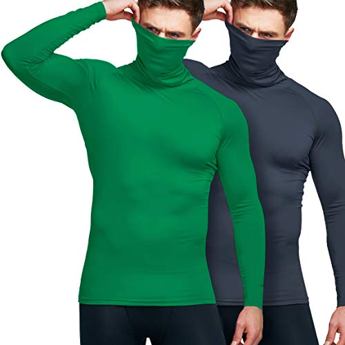 ATHLIO Men's Fit Mock Long Sleeve Compression Shirts, Athletic Workout Shirt, Cool Dry Active Sports Base Layer Top, Face Cover 2pack(btl47) - Charcoal/Jungle, Small