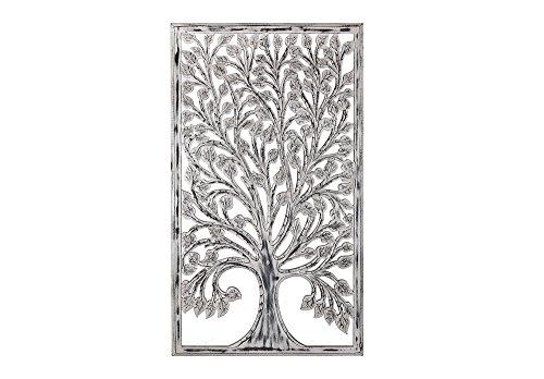 Faisan Home Panel Pared Decorativo Árbol, Madera, Negro y Blanco, 80x 140 cm