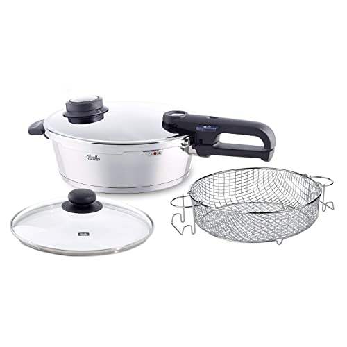 Fissler Vitavit Premium Pressure Cooker - 4 Piece Cookware Set, 4.2 Quart Pressure Cooker with Glass Lid and Wire Basket Insert, Stainless Steel, Works on All Stovetops
