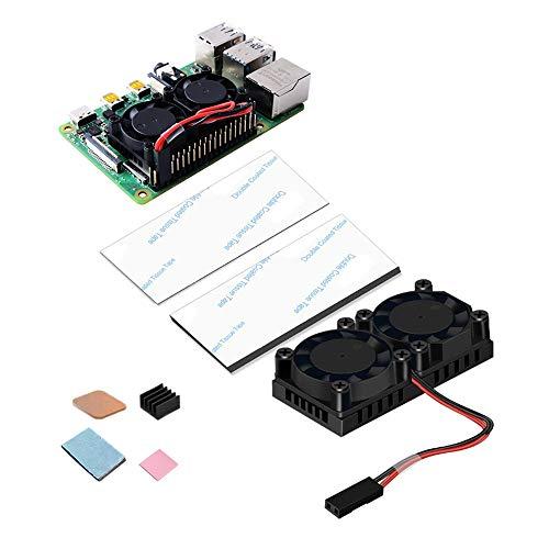 GeeekPi Raspberry Pi 4 Fan, Raspberry Pi Dual Fan con Raspberry Pi 4 Disipador térmico con Paquete de 2 Kit de enfriamiento de Cinta térmica para Raspberry Pi 4 Modelo B y Raspberry Pi 3B +