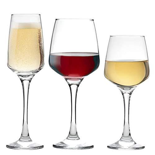 Argon Tableware Verres à vin Blanc, à vin Rouge et à Champagne - Ensemble de 18 pièces